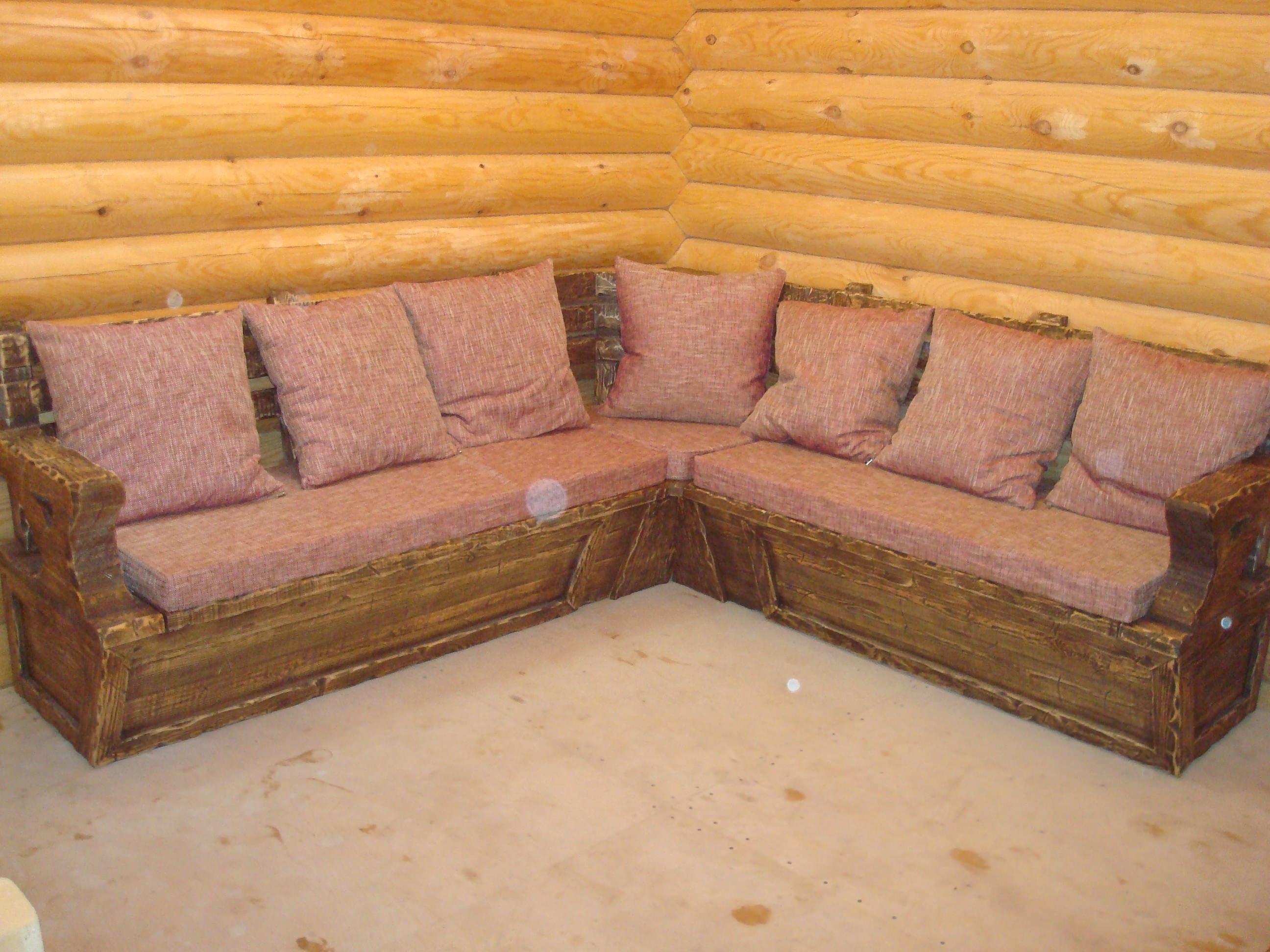 Угловой диван в баню своими руками